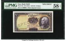Iran Bank Melli 10 Rials ND (1937 / AH1316) Pick 33s Specimen PMG Choice About Unc 58 EPQ. A perfectly original and attractive Specimen. A lone center...