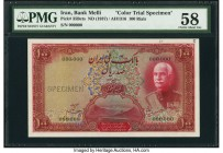 Iran Bank Melli 100 Rials ND (1937) / AH1316 Pick 35Bcts Color Trial Specimen PMG Choice About Unc 58. The three highest denominations of the French s...