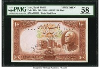 Iran Bank Melli 100 Rials ND (1938) / AH1317 Pick 36As Specimen PMG Choice About Unc 58. An attractive Specimen example of this 100 Rials note that wa...