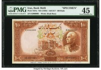 Iran Bank Melli 100 Rials ND (1938) / AH1317 Pick 36As Specimen PMG Choice Extremely Fine 45. Another well printed example of this scarce Specimen not...
