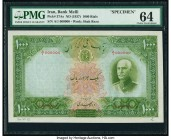 Iran Bank Melli 1000 Rials ND (1937) / AH1316 Pick 37As Specimen PMG Choice Uncirculated 64. Another handsome, unissued denomination, and visually stu...