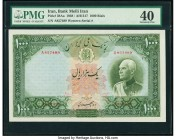 Iran Bank Melli 1000 Rials ND (1938) / AH1317 Pick 38Aa PMG Extremely Fine 40. The second example of the highest denomination of the 1937-38 issue. Th...