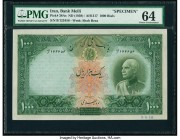 Iran Bank Melli 1000 Rials ND (1938) / AH1317 Pick 38As Specimen PMG Choice Uncirculated 64. A lovely, well printed Specimen of this higher denominati...