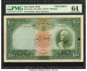 Iran Bank Melli 1000 Rials ND (1938) / AH1317 Pick 38As Specimen PMG Choice Uncirculated 64. Wide margins surround this boldly inked high denomination...