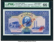 Iran Bank Melli 10,000 Rials ND (1938) / AH1317 Pick 38Cs Specimen PMG Gem Uncirculated 66 EPQ. This stunning Specimen was prepared for the highest de...