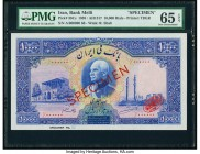 Iran Bank Melli 10,000 Rials ND (1938) / AH1317 Pick 38Cs Specimen PMG Gem Uncirculated 65 EPQ. A very scarce unissued denomination, beautifully inked...