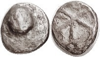 AIGINA, Triobol, 480-456 BC, Turtle/skew pattern in square, S2596 (£150); F, somewhat off-ctr, sl roughness mainly on rev, turtle in high relief but l...