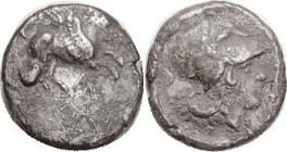 AMBRAKIA , Corinthian type stater, Pegasos r, A below/ Athena hd r, thymiaterion at rt, A behind; AVF for wear but rather rough surfaces, obv off-ctr ...