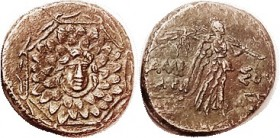 Æ22, c. 100 BC, Facg Gorgon head in aegis/Nike adv r, S3642; AEF/VF, orichalcum brown, nrly centered, rev somewhat crudely struck as usual, but obv qu...