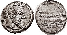 ARADOS , Ar 1/3 Stater or Tetrobol, 348-338 BC, Hd of bearded deity r/galley above waves, Phoenician letter above at edge of flan, as S5979 (£100); VF...