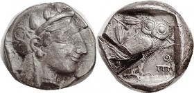 ATHENS , Tet, early type, Athena head r/Owl, c. 455-449 BC, before the mass coinage & much scarcer, distinguished mainly by the style of the owl, S-25...