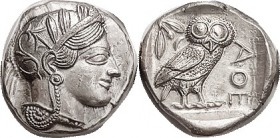 Tet, 449-413 BC, Athena head r/owl stg r, S2526; Virtually Mint State & choice, well centered; fresh bright metal; a little smoothing noted in obv rig...