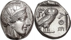 Another, Virtually Mint State, a tiny bit off-ctr on oval flan, but profile not crowded; good fresh metal with luster. Very well struck, Athena's hair...