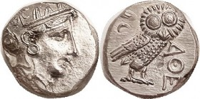 Later type Tet, 300-262 BC, Athena head/owl, S-2547; EF, excellent centering for these, obv just sl to left with head virtually complete & only sl cru...