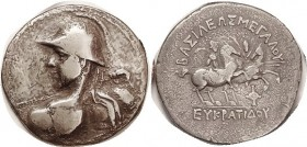 BAKTRIA , Eukratides I, Tet, Heroic bust l., in helmet, thrusting spear/Dioscuri on horses, S7571 (£3000); F+, well centered, mild porosity with touch...