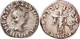 — Drachm, Helmeted bust r./Athena stg l; F-VF, nrly centered, only sl lgnd crowding, decent metal with lt tone.