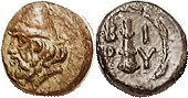 BIRYTIS , Æ10, c. 300 BC, Head of Kabeiros l, wearing dunce cap/Club, BI-PY in wreath, S-4057; EF, obv nrly centered, rev sl off-ctr; olive & brown pa...