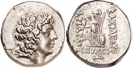 Ariarathes IX, 101-87 BC, Drachm, Bust r/Athena stg l, monogram left, Year 4, S7298; AEF, obv centered sl low but head complete, decent bright silver;...