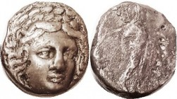 CARIAN Satraps , Maussollos (?), 377-353 BC, Tet, Apollo head facg 3/4 rt/ Zeus Labraundos stg r, S4954 (£1500); VF/VG, obv nrly centered on a tight f...