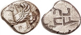 CORINTH, Stater, 555-515 BC, Pegasos with curled wing l./incuse swastika pattern; S1860 (£600); VF, nrly centered on pear-shaped flan, top of horse he...