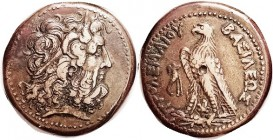 Ptolemy III, Æ36, Zeus Ammon head r/Eagle l, Chi-Rho betw legs; Choice VF+, centered, well struck, nice smooth brown patina with contrasting lighter t...