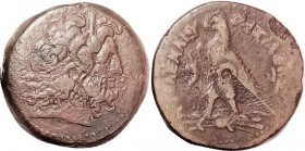 Ptolemy IV, Æ34, Zeus Ammon head r/Eagle stg l, F+/VG-F, centered, brown patina, sm coarse spot on rev edge. Letters betw eagle's head unclear, I thin...