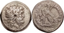 Ptolemy VI, Æ30, Zeus Ammon head r/Eagle stg l, with transverse scepter, lotus in field, betw legs EY-Lambda (Regent Eulaios); F-VF/F, well centered, ...