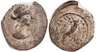 Cleopatra VII, Æ12, of Cyprus, Her bust r/cornucopiae, F+/AF, sl irregular flan, rev a bit off-ctr, green patina with some earthen hilighting; Good cl...