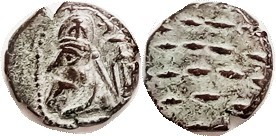 Orodes I, Æ Drachm, GIC-5896, Bust l., anchor/dashes; VF, hilighted green patina, nice. (A Ch. VF brought $42 on $47 bid in my 11/13 sale.)