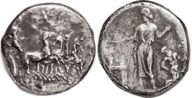 "HIMERA, Tet, 409-407 BC, Quadriga r, Nike above/Nymph Himera stg l, at altar, Satyr rt, S818 ( £2750 ); obv die signed by artist ""MAI ..."" F+ or bette..."