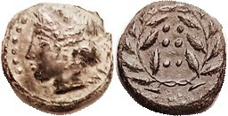 Æ16 (Hemilitron), 420-408 BC, Nymph hd l./6 pellets in wreath, S1110; VF, minimally off-ctr, dark green patina with some paler hilighting, nice strong...