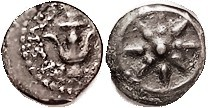 JUDAEA , Alex Jannaeus, 103-76 BC, Prutah, Star in circle/ Anchor & lgnd, Hend. 1150; VF, obv well centered, rev some-what off-ctr, abt half lgnd show...