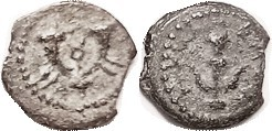 Herod the Great (actually more like Herod the Horrid), 40-4 BC, Æ Prutah, Anchor & lgnd/ double cornucopiae, Hend.-1188; F/F-VF, nrly centered on sl i...