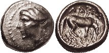 Æ12, 4th cent BC, Nymph head left/horse grazing rt, F-VF, obv sl off-ctr, rev centered, smooth brown patina. (A VF, no better, brought $95, Roma 4/14....