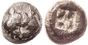 LESBOS , billon 1/8 stater, 1.48 gms, 6th cent BC, 2 boar hds face-to-face/incuse square, as S3488 (£140); F+, centered, uncleaned dark patina, heads ...