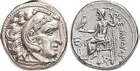 -- Drachm, of Kolophon, Herakles head r/Zeus std l, at left lion head above B, pentagram below seat, issue by Lysimachos, Pr.1833; Choice EF, obv well...
