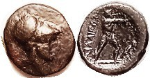 THE MALIANS , at Lamia, 400-344 BC, Æ13, Athena head r/Philoctetes stg r, shooting bow, quiver at rt; S2142; F-VF, centered on sl oval flan, brown pat...