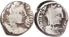 NABATAEA , Silver Drachm, Malichos & Queen Shaqilath, 40-71 AD, GIC-5702, Bust r/bust r; F, smallish flan with partial lgnds, but good metal and fully...