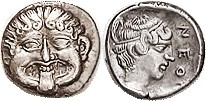 NEAPOLIS (Macedon), Hemidrachm, 424-350 BC, Facing Gorgoneion/nymph head r, lgnd at rt, S1417; AEF, nrly centered & well struck with strong detail, bo...