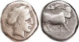 NEAPOLIS (Campania), Didrachm or Nomos, Nymph head r/man-headed bull rt, Nike above, monogram below (combined Xi & Y; someone should publish a list of...