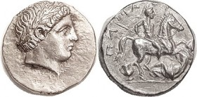 PAEONIA , Patraos, 340-315 BC, Tet, Apollo head r/ Horseman skewering fallen enemy, S1520; Choice EF, large flan, obv centered high but head complete,...