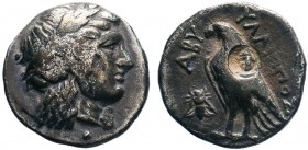 TROAS. Abydos. Hemidrachm (4th Century BC).Yllippos, magistrate.Obv: Laureate head of Apollo right.Rev: ABY YΛΛYΠΠΟΣ.Eagle ( countermark ) standing le...