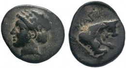 Ionia. Magnesia ad Maeander circa 350-190 BC.AE Bronze . Laureate head of Apollo left / MAΓ, forepart of bull right. very fine BMC 17; SNG Copenhagen ...