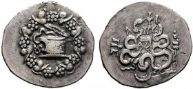 Mysia, Pergamon AR Cistophoric Tetradrachm. Circa 133-67 BC. Serpent emerging from cista mystica; the whole within wreath / Two serpents entwined arou...