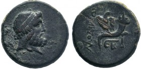 Phrygia. Laodikeia ad Lycum 133-67 BC. AE Bronze.Head of Zeus right / Eagle standing facing, head right, ΛΑΟΔΙΚΕΩΝ on filleted cornucopia; monogram be...