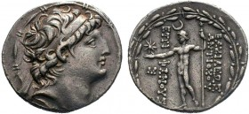Seleukid Empire, Antiochos VIII Epiphanes Grypos AR Tetradrachm. Ake-Ptolemais, circa 121-113 BC. Diademed head of Antiochos right within fillet borde...