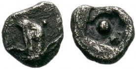 Ionia. Phokaia 530-500 BC. AR Obol . Head of griffin left / Large dot in the middle of incuse square. Unpublished Type!  Condition: Very Fine  Weight:...