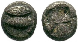 MYSIA, Kyzikos. Circa 550-480 BC. AR Obol . Dolphin left; below, tunny left / Quadripartite incuse square.  Condition: Very Fine  Weight: 0.31 gr Diam...