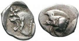 Mysia. Kyzikos circa 480 BC.MYSIA, Kyzikos. 525-475 BC. AR Obol . Forepart of boar , tunny-fish behind / Head of lion in shallow incuse square, facing...