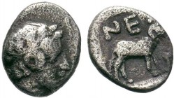 Troas, Neandria AR Obol. 4th century BC. Laureate head of Apollo right / Ram standing right. SNG Ashmolean 1170–1; SNG von Aulock 7628  Condition: Ver...